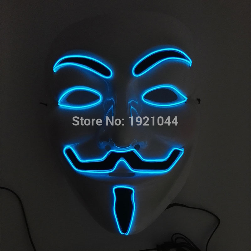 10 COLORS Choice NEW 패션 플래쉬 EL 와이어 Vendetta mask 패션 클래식 V VENDETTA 할로윈 코스프레 의상 마스크