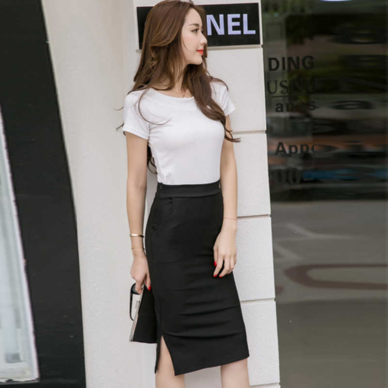 874a16162 ... Elegant High Waist Pencil Skirts Women Plus Size Bodycon Open Slit Ladies  Office Skirt Casual Ol ...