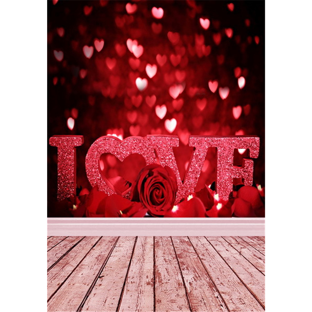 bokeh love hearts valentines day backdrops romantic printed red