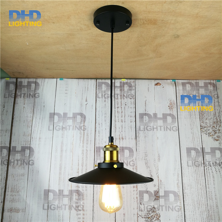 edison chandelier vintage d220mm e27 black finished iron shade industrial pendant lamp ac110240v with - Brass Beds