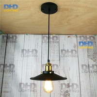Edison chandelier vintage D220mm E27 black finished iron shade industrial pendant lamp AC110 240V with brass finished socket