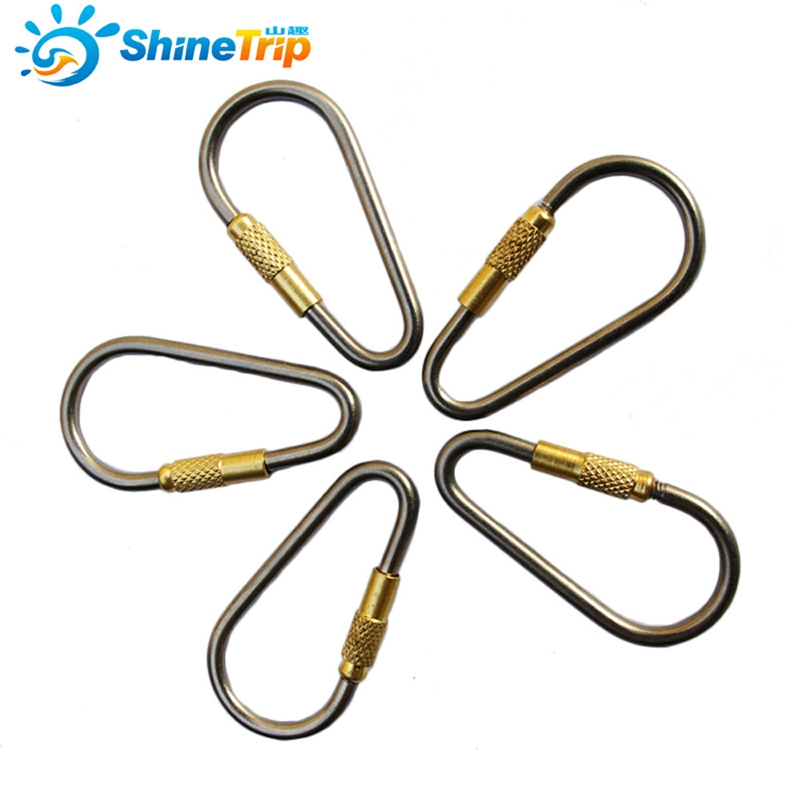 5Pcs Outdoor D-Shape Titanium Alloy Carabiner Multifunction Ultralight Camping Gear Equipment Buckles Hooks Survival Kits ...