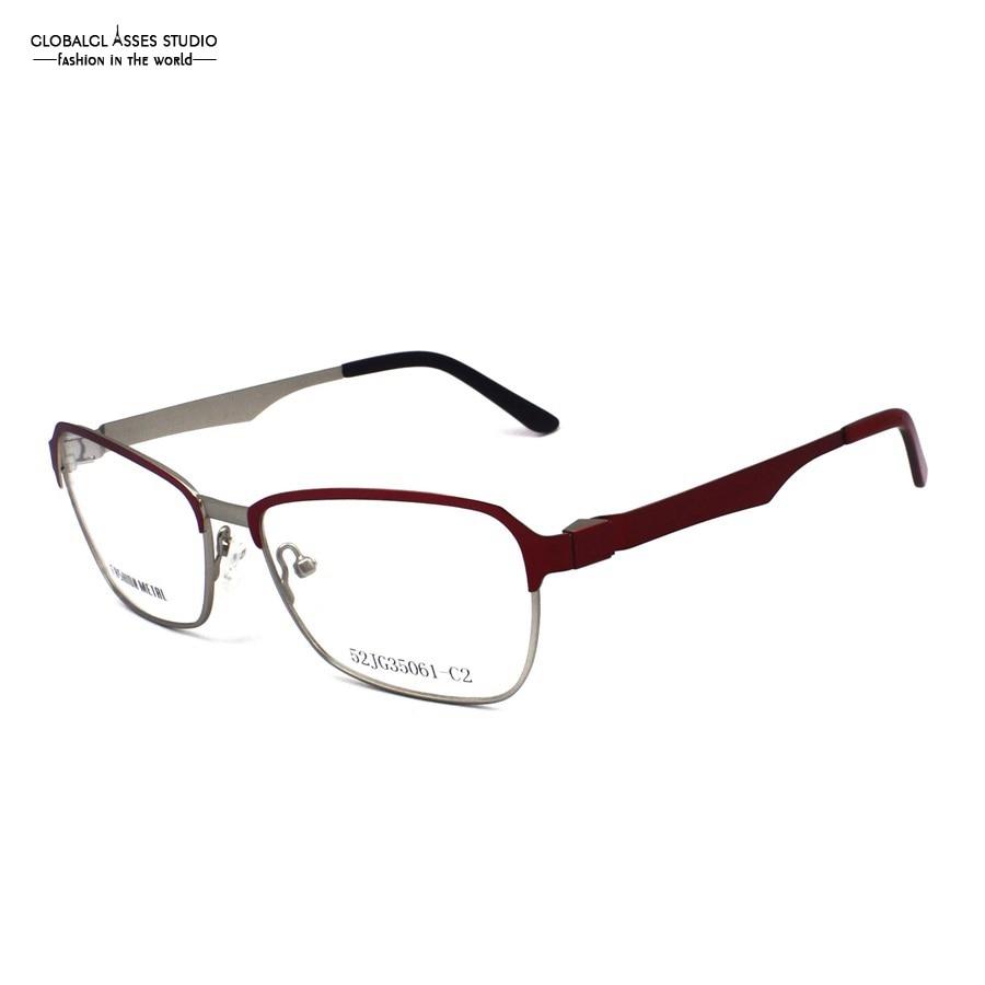 Apparel Accessories Big Full-rim Metal Eyeglasses Women Wine On Silver Color Acetate Tip Prescription Optical Glasses Frame 52jg35061-c2 Women's Eyewear Frames