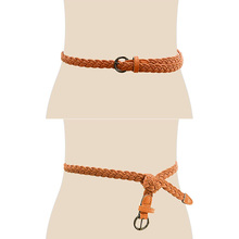 High Quality PU Weave Belt Womens New Style Candy Colors Hemp Rope Braid Female For Dress