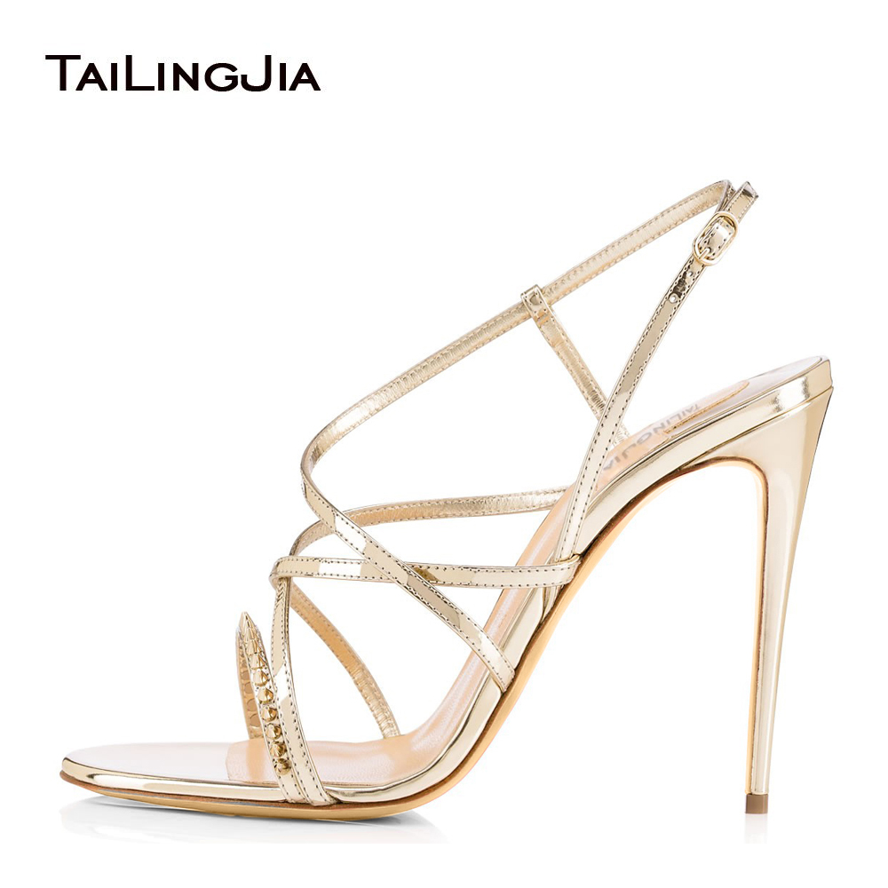 Women's High Heel Strappy Sandals Spikes Dress Heels Bridal Wedding Red Carpet Shoes Ladies Summer Stilettos Wholesale Plus Size цены онлайн