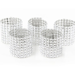 10pcs Gold Silver Napkin Ring Chairs Buckles Wedding Event Decoration Crafts Rhinestone Bows Holder Handmade Party Supplies(China)