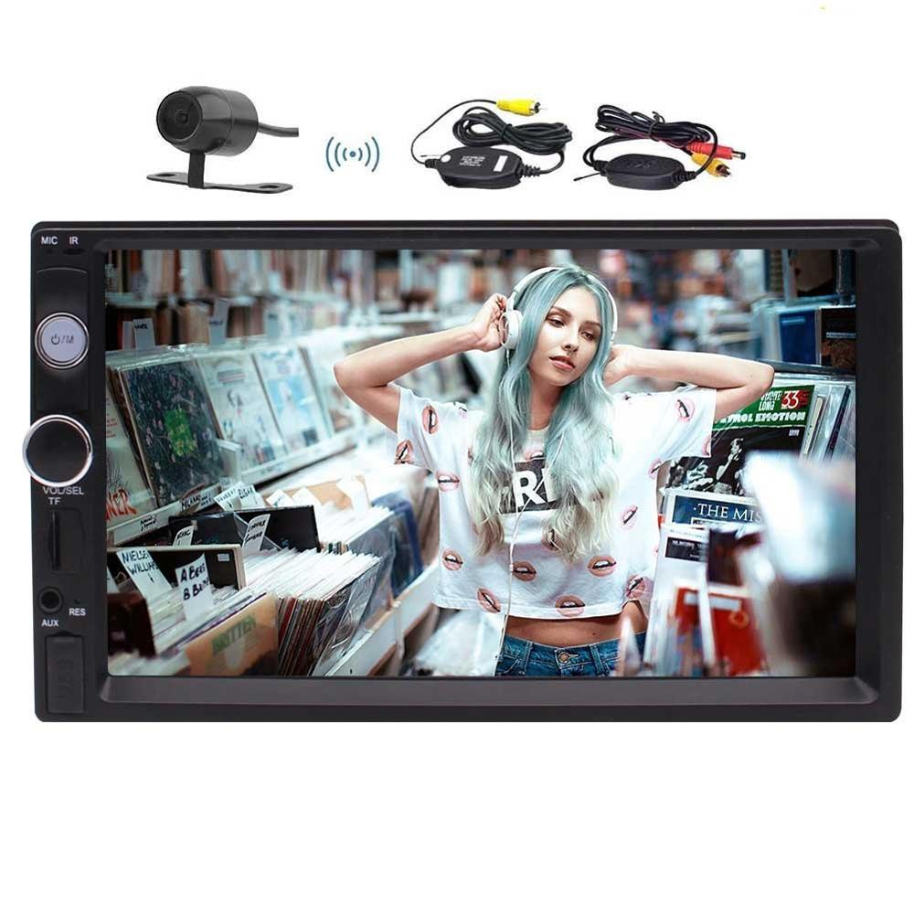 Wireless Backup Camera+MP5 Player Car Stereo 2Din In Dash 7'' FM Radio Video Support Bluetooth/Hands-free Call USB/TF AUX-in/SWC vodool 2din bluetooth in dash 7 1080p car stereo mp5 player fm radio with rear view backup camera reversing display monitor kit