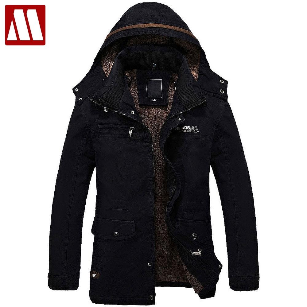 Для мужчин меховой подкладкой куртка толстые длинные теплые зимние Fit пальто с капюшоном пальто Для мужчин зимние куртки Для мужчин s хлопко...