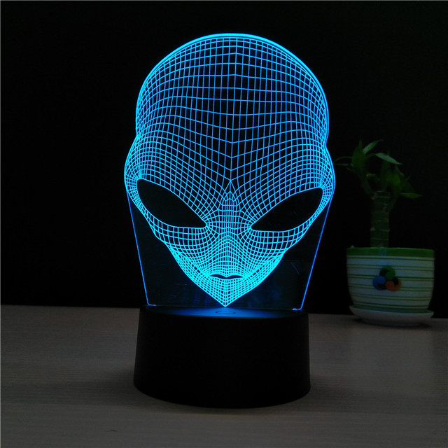 7 Color Alien Lamp 3D Visual Led Night Lights for Kids Touch USB ...