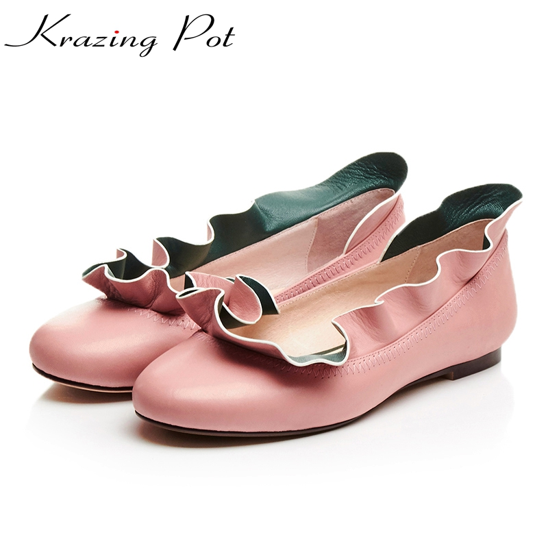 Krazing Pot genuine leather fairy  lacework round toe flowers flats slip on British school women casual flats shoes L66 nayiduyun women genuine leather wedge high heel pumps platform creepers round toe slip on casual shoes boots wedge sneakers