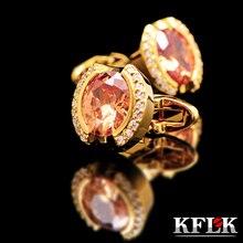 KFLK Luxury 2014 HOT shirt cufflinks for mens Brand cuff buttons Crystal links Gold abotoaduras Jewelry