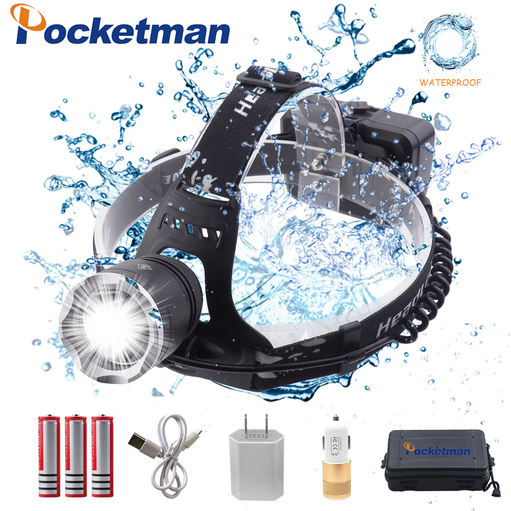 LED headlamp fishing headlight 43000 lumen XHP70 3 modes Zoomable lamp Waterproof Head Torch flashlight Head lamp use 18650