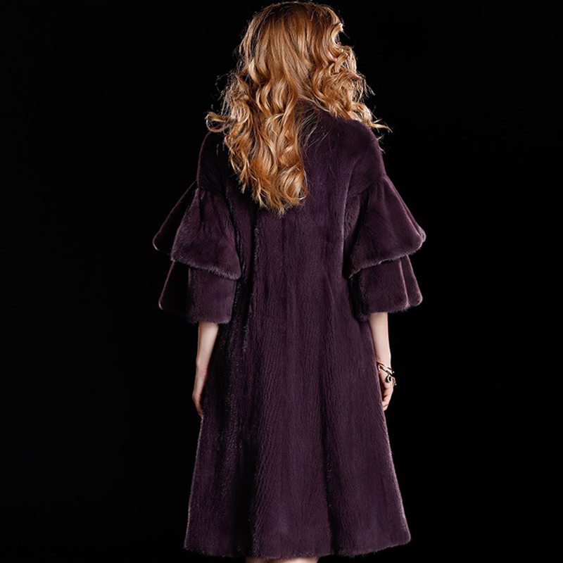 LVCHI Draped Lengan Rok Mink Fur Coats 2019 Berlian Mode V Neck Fur - Pakaian Wanita - Foto 4