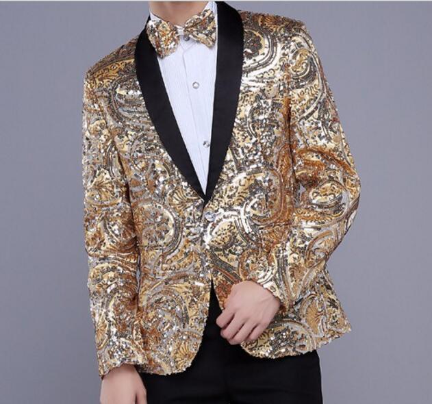 Amarillo rojo Lentejuelas compere blazer chaqueta vestido de novia de fiesta de la moda super star para bailarín del cantante estrella discoteca espectáculo de rendimiento