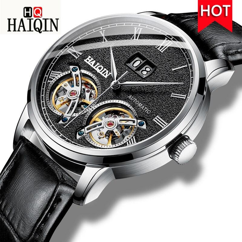 automatic mechanical watch men fashion luxury top brand Haiqin leather tourbillon waterproof men s watches relogio