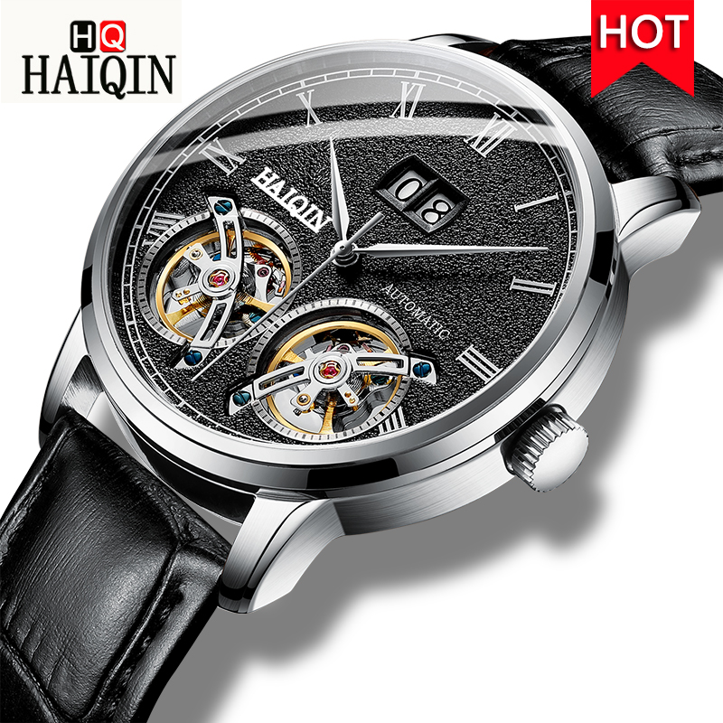 automatic mechanical watch men fashion luxury top brand Haiqin leather tourbillon waterproof men's watches relogio masculino new