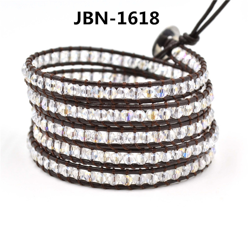 Christmas gift Exquisite Quality crystal Beads on genuine Leather 5X wraps mutilayer Bracelet for men and women JBN-1618