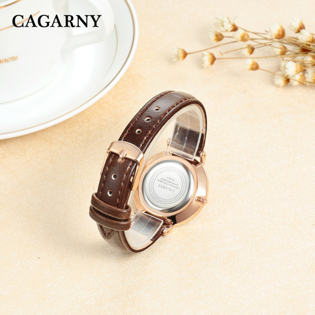 CAGARNY Women Quartz Watches Designer Rose Gold Ultra thin Case Casual Ladies Wristwatches Leather Bracelet Watch Women DW 0797