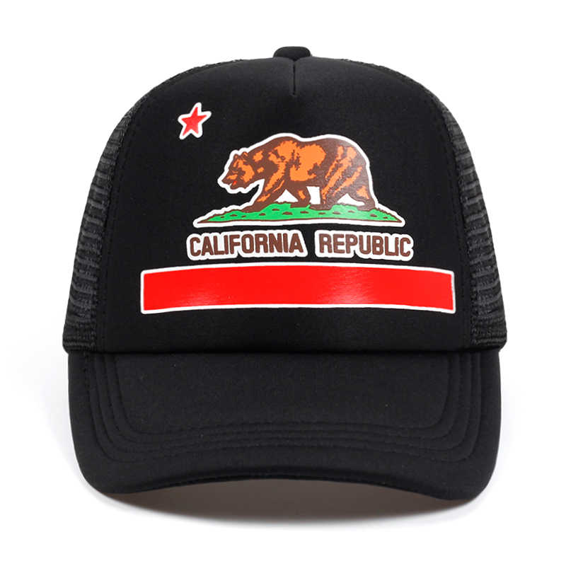 ... 2018 New rucker Hat California Flag Snapback Mesh summer Cap Retro California  Love Vintage California Republic ... b7dd0f1ca4d