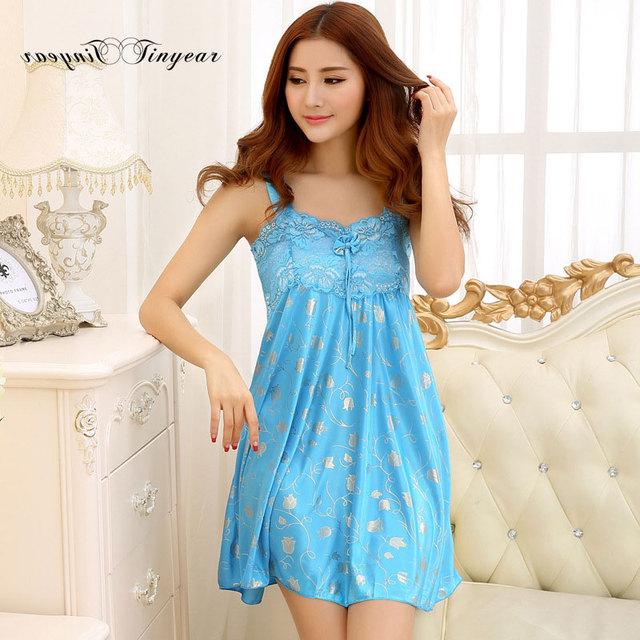 Nova chegada do verão lace nightgowns sleepshirts sensuais sem mangas floral grande tamanho nuisette femme camisola de cetim 5 cores opcional