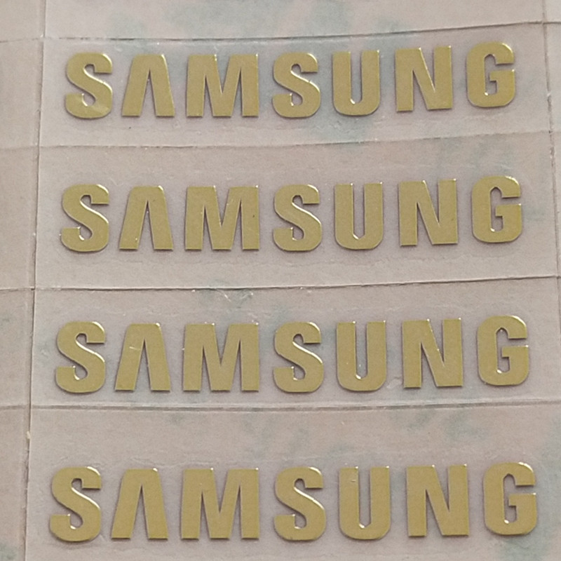 Custom Metal Gold Samsung Logo Metal Paste Samsung Galaxy S3 S4 S5 Metal Stickers Samsung Logo 1.9X0.3cm 1pcs/lot Free Shipping