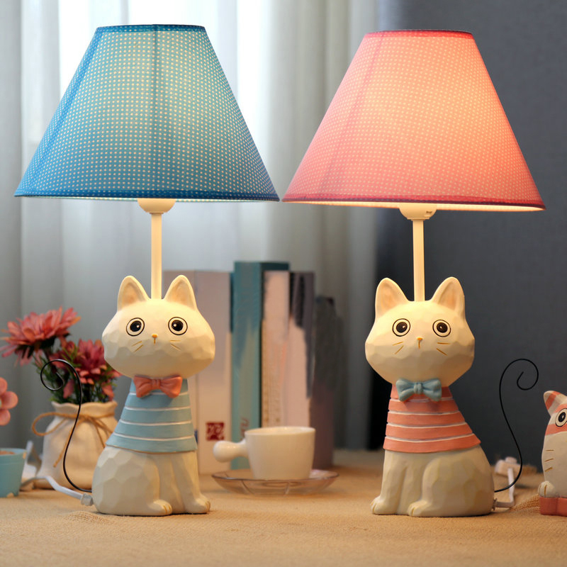 e27 child bedroom table lamps cartoon lovely cat model iron tail fashion creative novelty desk. Black Bedroom Furniture Sets. Home Design Ideas