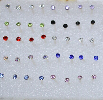 2MM Radomly Send Wholesale 18Pairs Set Fashion Multicolor Round Sparking Crystal Anti allergic Stud Earrings <font><b>E2620</b></font> image