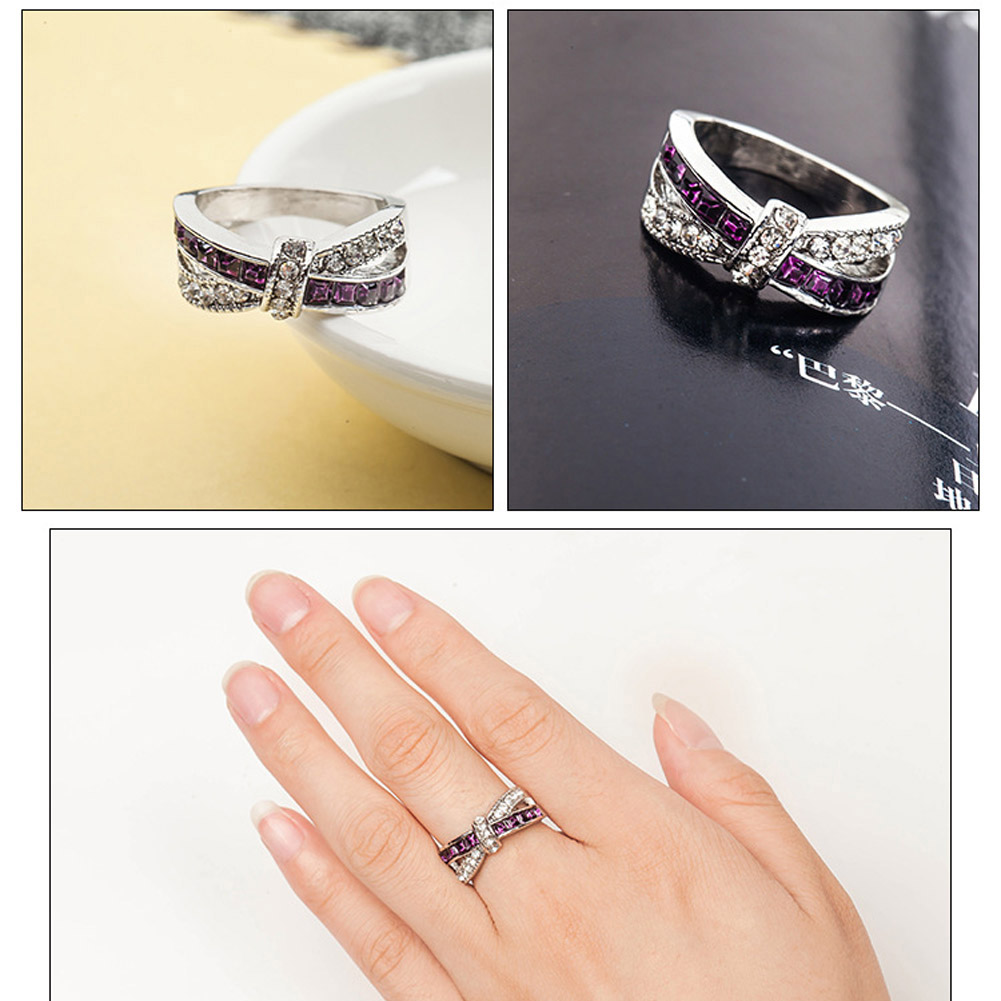 Crossed Wedding Engagement Ring Wholesale Cross Finger Ring Luxury color Purple Jewelry
