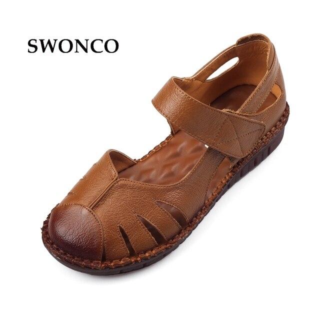 5463fc39 SWONCO damskie sandały w stylu Vintage Handmade prawdziwej skóry buty  damskie letnie sandały damskie 2018 na