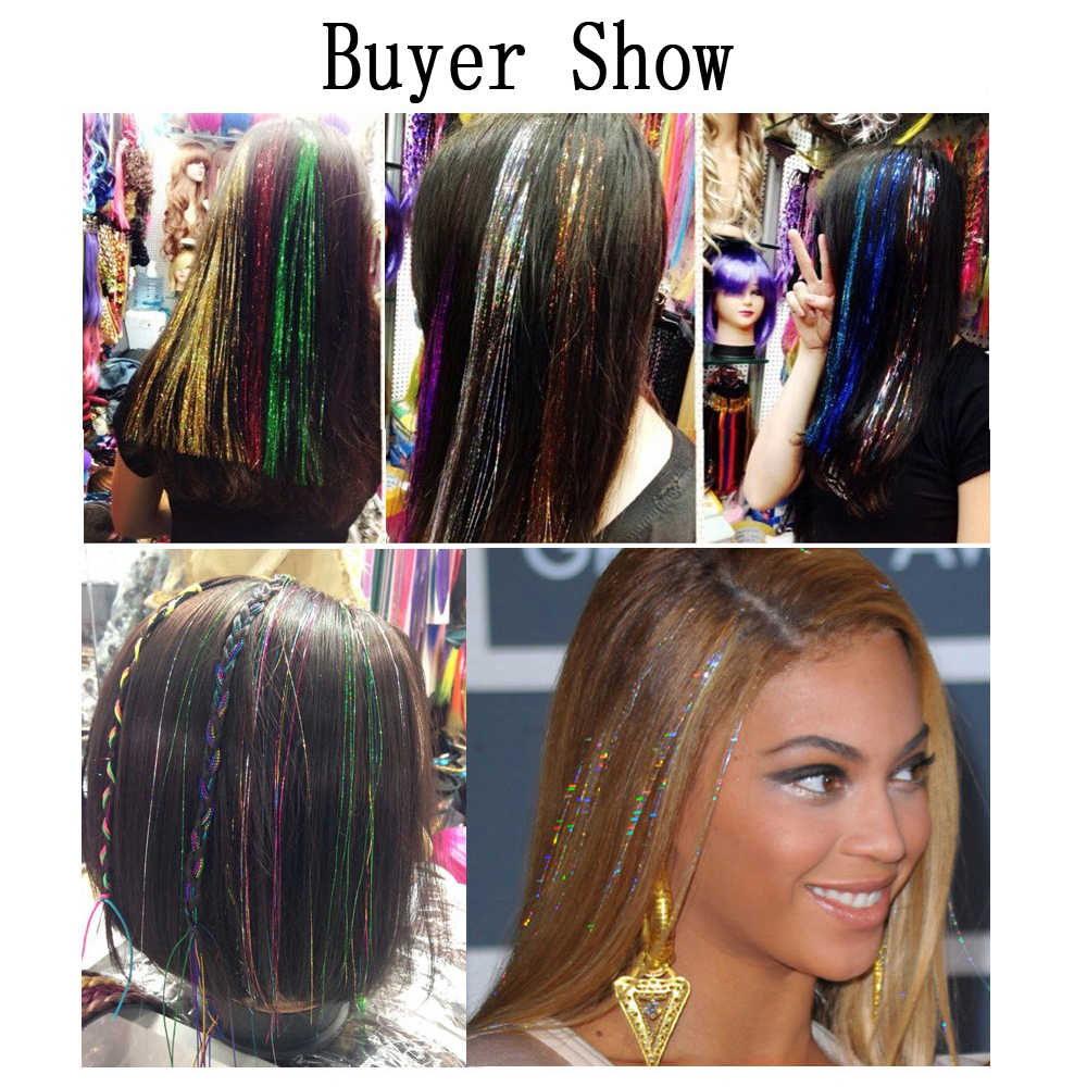 Hair Tinsel Sparkle Holographic Color Glitter Extensions Highlights Party  For Girls Beauty Salon 14 Colors