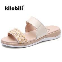 4528415011e329 Kilobili En Cuir T Sangle Pantoufles Chaussures Femmes D'été À L'extérieur  Diapositives