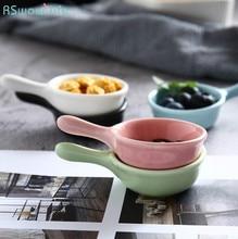 2 Pcs Mini Handle Ceramic Small Dishware Creative Cute Soy Sauce Vinegar Snack Dish Tableware For Home Kitchen Supplies