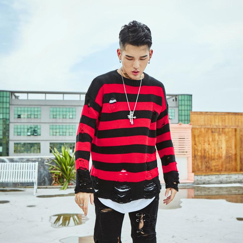 Ripped Stripe Knit Sweaters 9