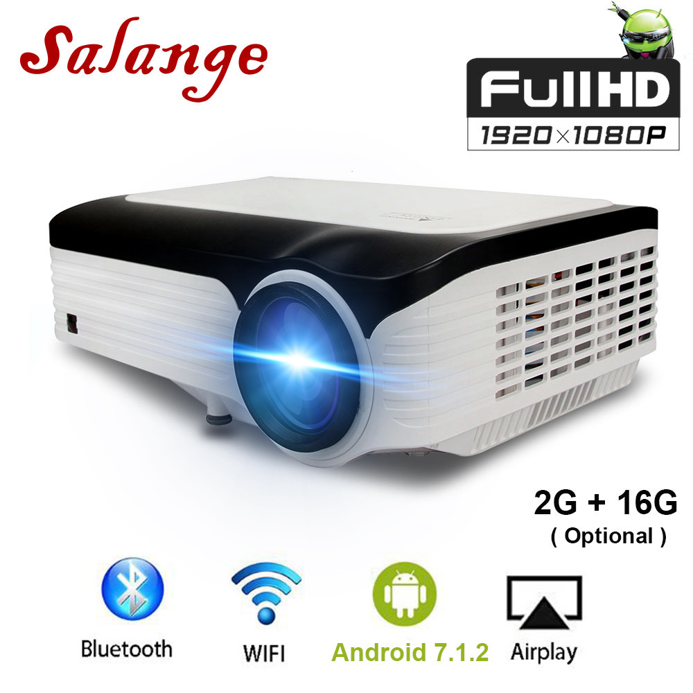 Salange Android-Projector Bluetooth 1920--1080 Full-Hd Newest Beamer Wifi Home for
