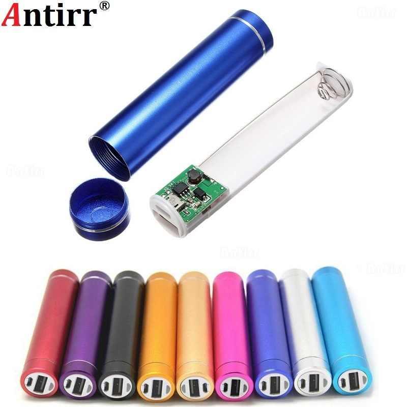 Banco de energía de Metal DIY Kit caja de almacenamiento traje de soldadura gratis 1X18650 batería 5V 1A cargador externo USB para teléfono xiaomi samsung