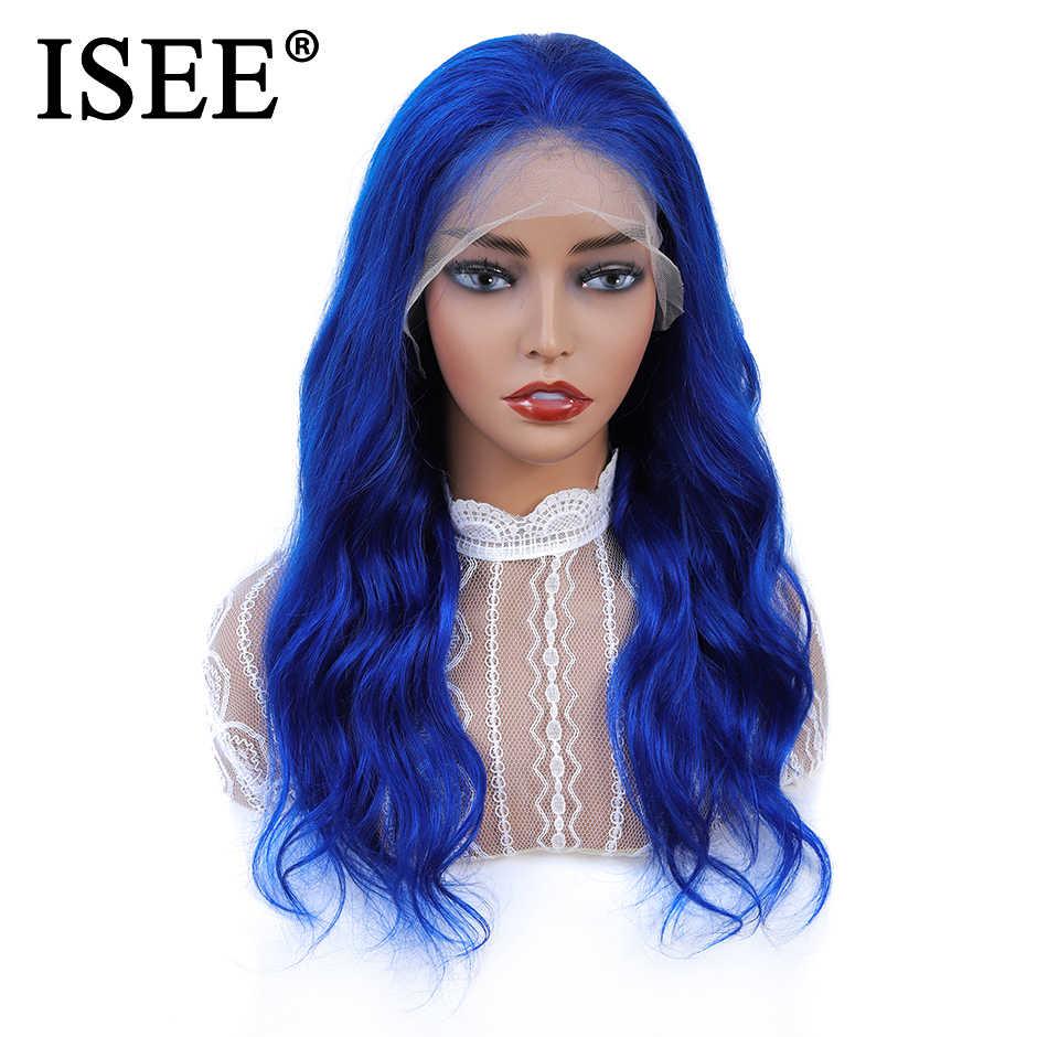 ISEE волосы перуанские розовые парики с волосами младенца Remy синие волосы шнурка фронта человеческих волос парики 150% плотность 613 блонд волнистые волосы фронта шнурка парик