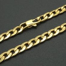 Ожерелье золотого цвета из нержавеющей стали, 6 мм, 20 дюймов-36 дюймов, для мужчин и женщин, модные ювелирные изделия, панцирная кубинская цепочка, мужское колье