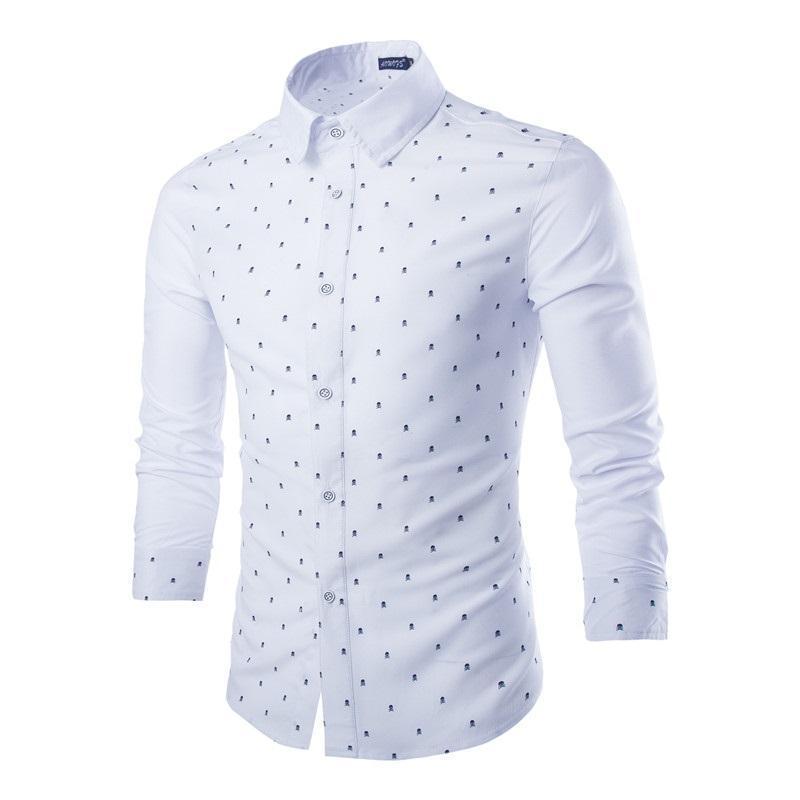 Novo padrão de crânios masculinos camisas homem casual moda manga longa fino ajuste camisa camisa masculina manga larga marca xcc00y115