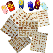 2019 Adhesive Sticker Design Nail Art Decopration For Nails Logo Sticker Decoration DIY Brand Art Gold Stripes Flower Manicure(China)