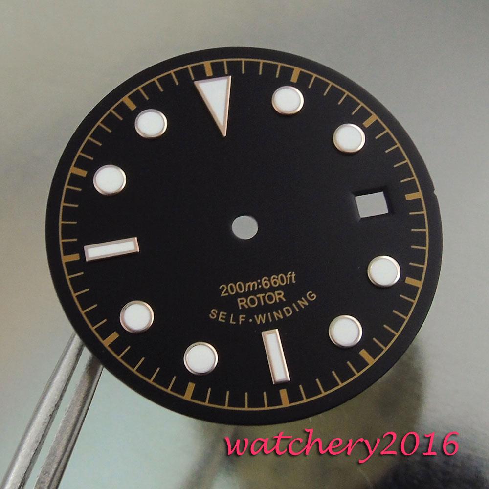 Automático de Auto-liquidação Mostrador do Relógio dos Homens Novo Black Dial Branco Números Data Janela Ajuste Movimento 30.4mm