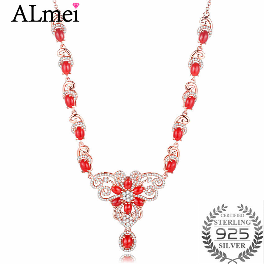 Almei Luxury 0.6ct Coral Beads Butterfly Rhinestone Wedding Choker Statement Necklace Silver 925 Women Jewelry Free Box 40%FN091 faux pearl rhinestone butterfly denim choker necklace