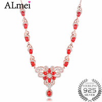 Almei Luxury 0.6ct Coral Beads Butterfly Rhinestone Wedding Choker Statement Necklace Silver 925 Women Jewelry Free Box 40%FN091