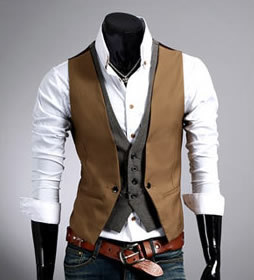 Hot sale Men's plaid vest fake two design men Slim sleeveless jacket mens dress vest formal fashion casual waistcoat suit