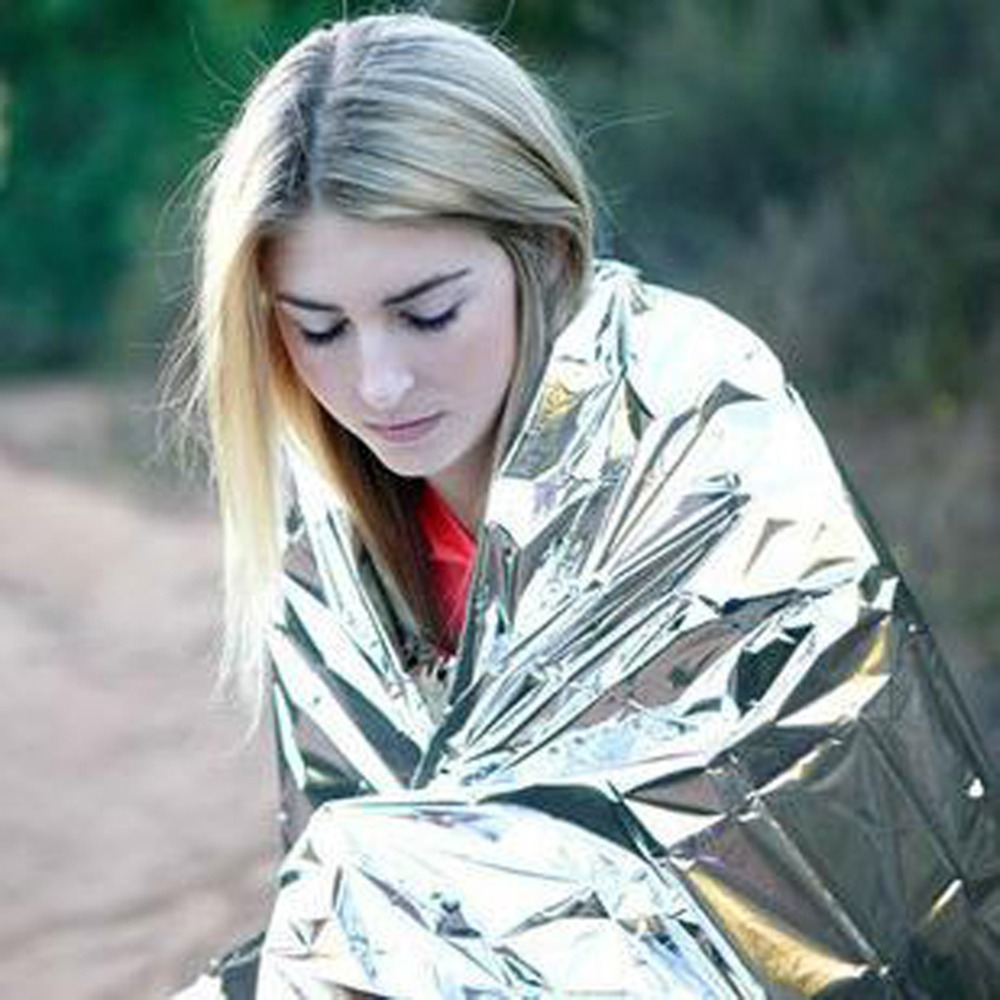 1New Outdoor Water Proof Emergency Survival Rescue Blanket Foil Thermal Space First Aid Sliver Rescue Curtain Military Blanket