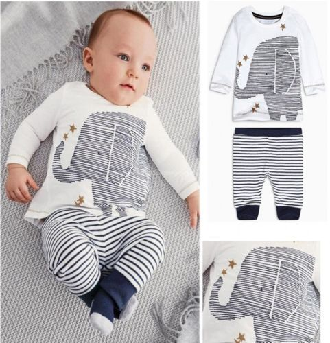 2015 Autumn Toddler Baby Boys Lovely Elephant Tops Striped Pants Outfit Chidlren Clothing Sets