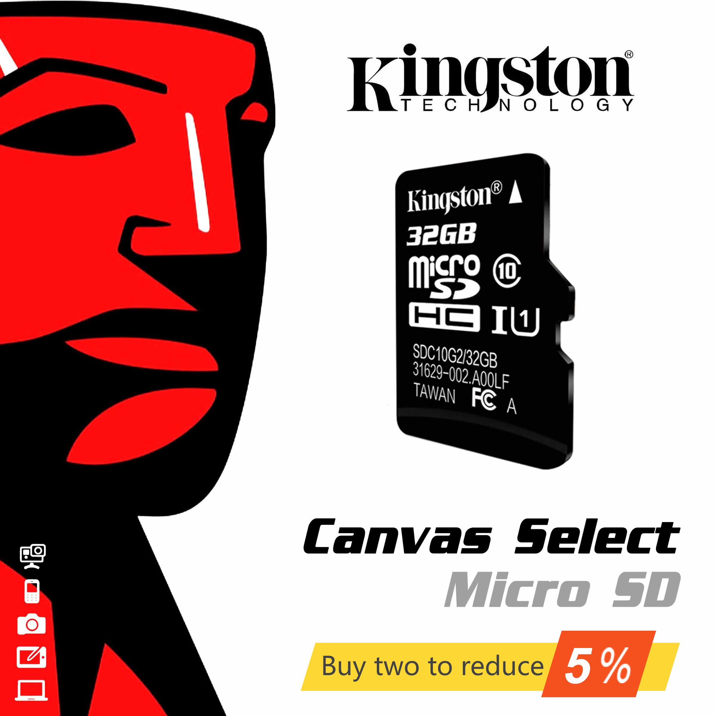 Original High Speed SDHC Kingston SD Card 16gb 32gb 64gb 128gb 256gb Micro SD Memory Card Class 10 Mini TFT 16 32 64 128 256 GB