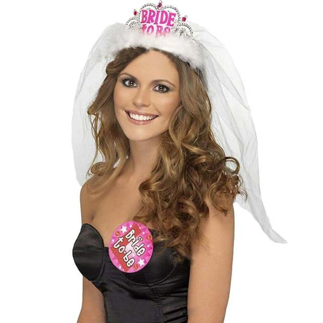 Bride to Be Crown with White Veil Bachelorette Party Supplies Bridal Shower  Tiara. placeholder ... 2aa9c0776863
