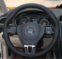 Black Artificial Leather Car Steering Wheel Cover for Volkswagen VW Gol Tiguan Passat B7 Passat CC Touran Jetta Mk6