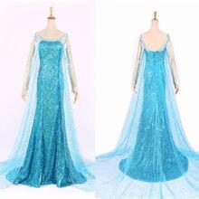 Elsa Königin Prinzessin Adult Frauen Cocktailparty Kleid Kostüm Elsa Kleider Blau Bling Cosplay Kleid