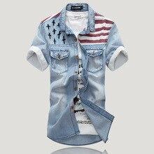 2015 New Top Fashion Regular Solid Cotton Camisa Men's Vintage Short Sleeve Denim Shirt Flag Wind Mens Shirts Jeans Discounts